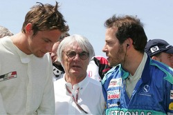 Jenson Button, Bernie Ecclestone and Jacques Villeneuve