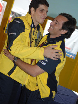 Alex Barros celebrates with Sito Pons his 250th Grand Prix