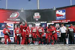 Victory lane: race winner Sam Hornish Jr. celebrates with his team
