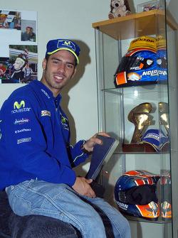 Marco Melandri at home in Derby