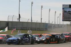 First corner: contact between #13 Unitech Racing Nissan 350Z: Blake Rosser, David Murry and #92 Anchor Racing BMW M3: John Munson, James Sofronas