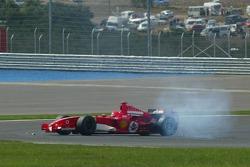 Michael Schumacher after his crash with Mark Webber