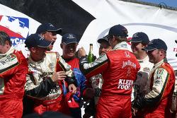 Champagne celebration for Dan Wheldon