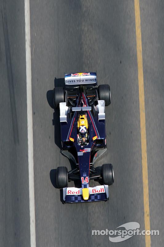 David Coulthard drives the Red Bull Racing car across the Bosphorus Bridge