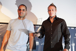 Juan Pablo Montoya presents the award for Overtaking Manouvre of the Year to Adam Carroll for his race-winning move at Imola