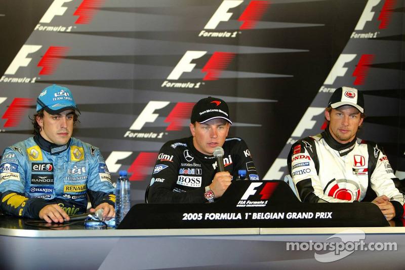 Conferencia de prensa: ganador de la carrera Kimi Raikkonen con Fernando Alonso y Jenson Button