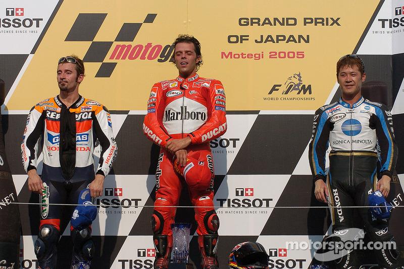 2005: 1. Loris Capirossi, 2. Max Biaggi, 3. Makoto Tamada