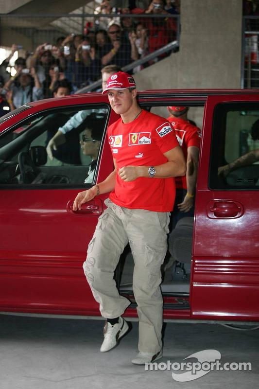 Michael Schumacher arrives at Ferrari fans event