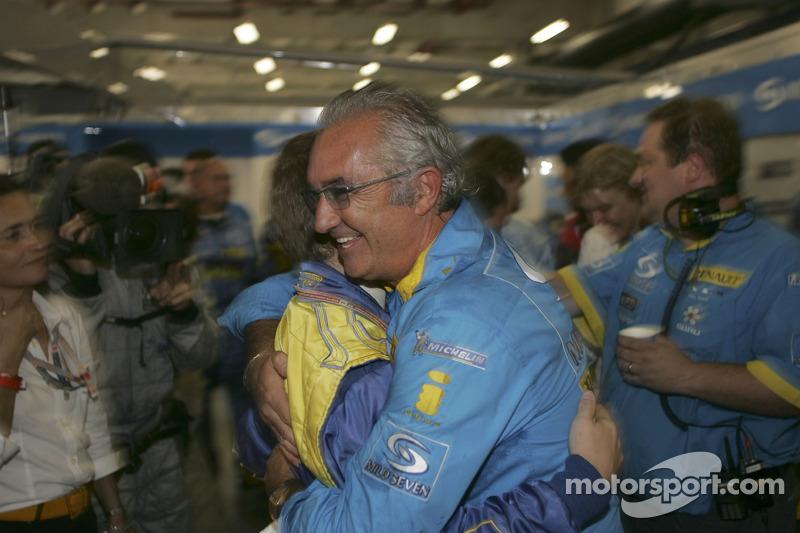 Flavio Briatore celebrates world championship