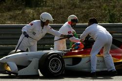 Adrian Sutil after his crash with Jos Verstappen