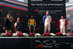 Podium: race winner Alexandre Premat with Nelson A. Piquet and Neel Jani
