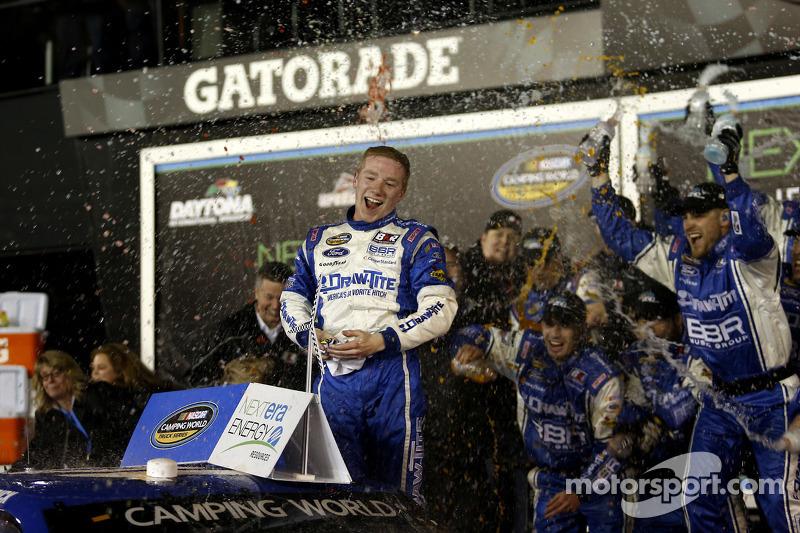Race winner Tyler Reddick, Brad Keselowski Racing Ford celebrates