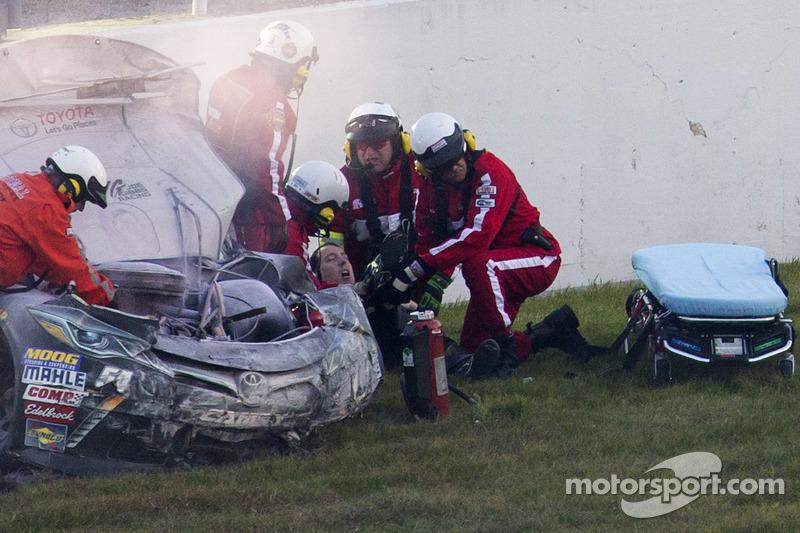 Kyle Busch, Joe Gibbs Racing Toyota after crashing