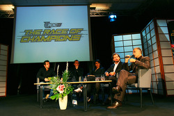 Press conference, Stade de France: Jean-Christophe Giletta, Fredrik Johnsson, Michèle Mouton, Stéphane Peterhansel and Sébastien Loeb