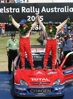 Podium: rally winners François Duval and Sven Smeets celebrate