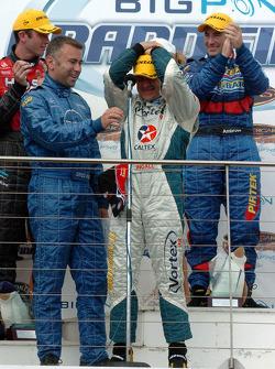 Podium: V8 Supercar 2005 champion Russell Ingall celebrates