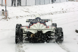 Dirk Muller drives a Formula BMW in the snow