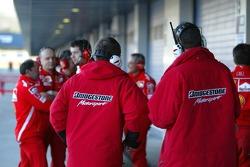 Bridgestone engineers work with Ferrari engineers