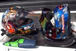 Les casques de Andy Pilgrim et Jan Magnussen