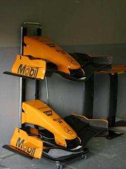 The orange front nose of the McLaren