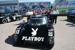Playboy Racing photoshoot: drivers and playmates pose with the Playboy cars