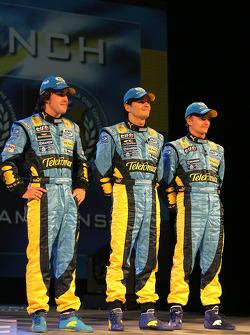 Fernando Alonso, Giancarlo Fisichella and Heikki Kovalainen