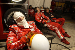 Target Chip Ganassi crew members take a nap