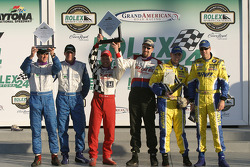 ST podium: class winners John Schmitt and Dave Roush, with second place Hugh Plumb and Matt Plumb, and third place Will Turner and Don Salama