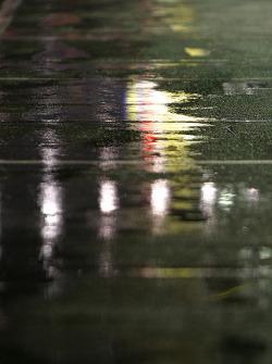 A wet pitroad