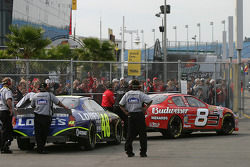 Dale Earnhardt Jr. and Jimmie Johnson head to track