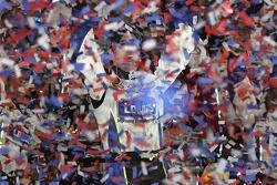 Victory lane: race winner Jimmie Johnson celebrates