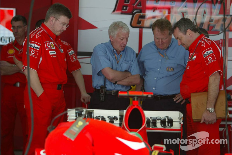 FIA technical delegates inspect the Ferrari