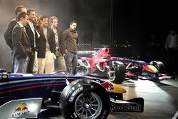Christian Klien, Robert Doornbos, David Coulthard, Vitantonio Liuzzi, Scott Speed and Neel Jani on stage