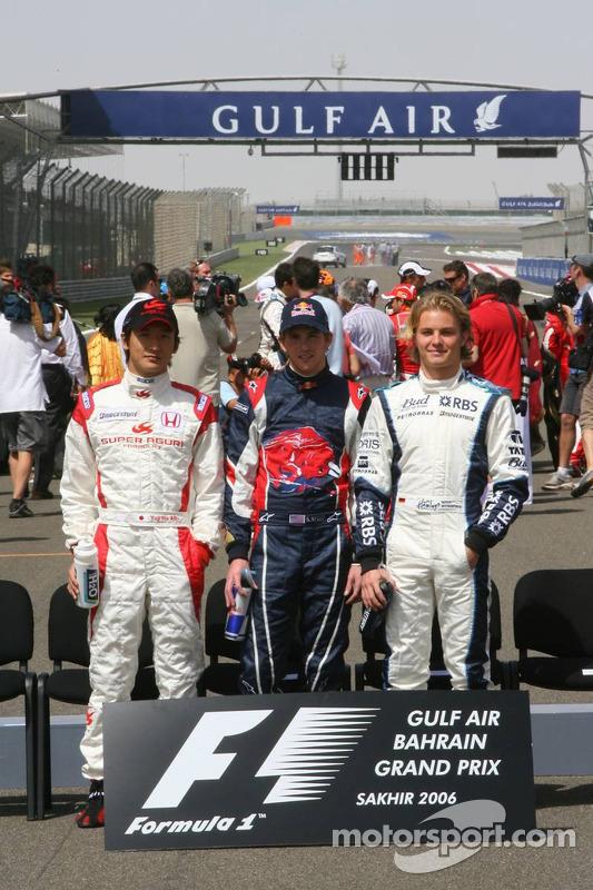 Foto de pilotos: Yuji Ide, Scott Speed y Nico Rosberg