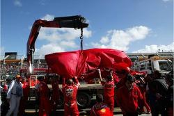 The wrecked car of Felipe Massa