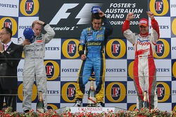 Podium: race winner Fernando Alonso with Kimi Raikkonen and Ralf Schumacher