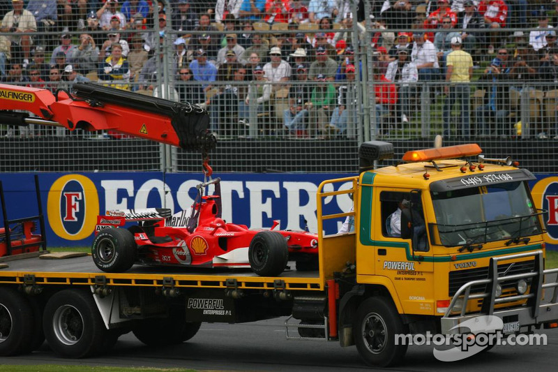 Wrecked car of Michael Schumacher
