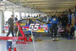 Michael Waltrip's car in the garage