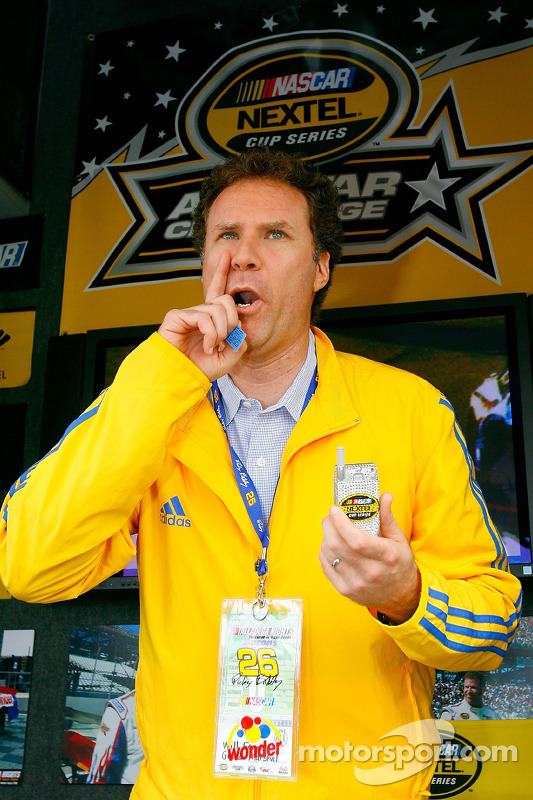 Actor Will Ferrell gives a Sprint phone away during a promotion for the movie