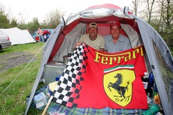 Fans on a campside, camping ground, tent