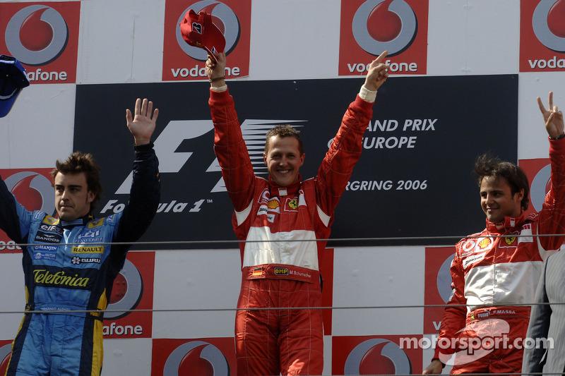 2006: 1. Michael Schumacher, 2. Fernando Alonso, 3. Felipe Massa