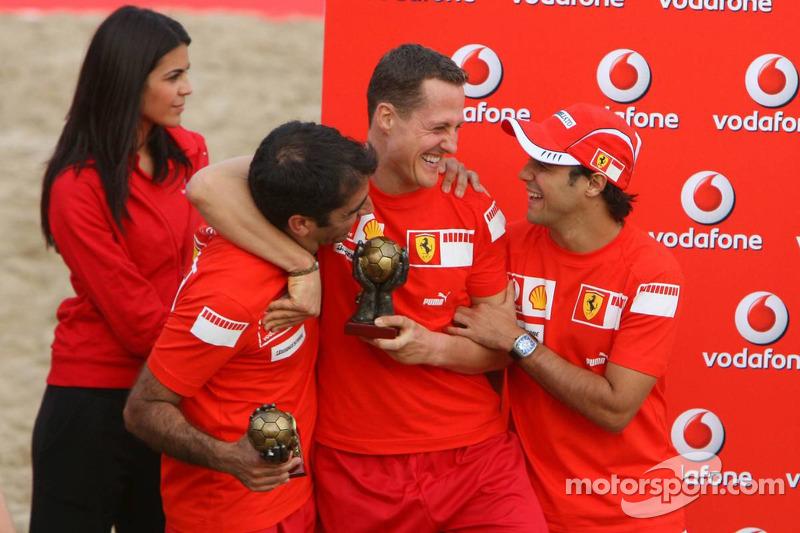Vodafone Ferrari Beach Soccer Challenge: Marc Gene, Michael Schumacher et Felipe Massa