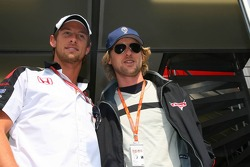 Jenson Button and actor Owen Wilson promoting new animated film