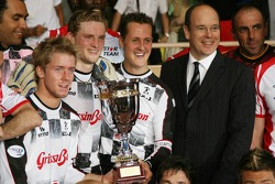 Charity football match: Prince Albert II of Monaco and Michael Schumacher