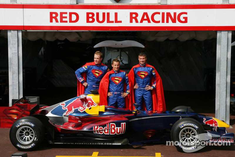 """Red Bull Racing unveil their special Monaco """"Superman"""" edition livery: Robert Doornbos, Christian Klien and David Coulthard"""