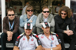 Rubens Barrichello and Jenson Button with band Kaiser Chiefs