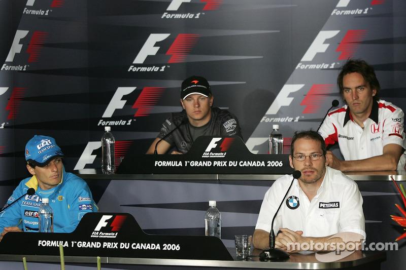Conférence de presse de la FIA: Giancarlo Fisichella, Jacques Villeneuve, Kimi Räikkönen et Franck Montagny