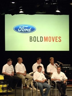 Ford Racing Craftsman Truck Series drivers take part in an employee pep rally at Ford World Headquarters