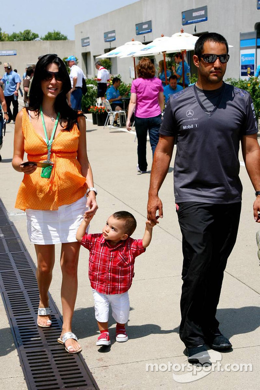 Juan Pablo Montoya et sa femme Connie Montoya avec leur fils Sebastian
