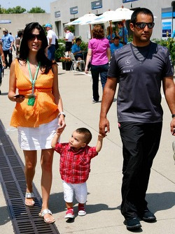 Juan Pablo Montoya and wife Connie Montoya with their son Sebastian
